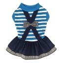 Đầm caro nơ xanh dương